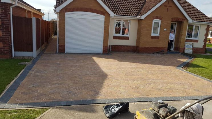A driveway that has been added to a domestic customers home