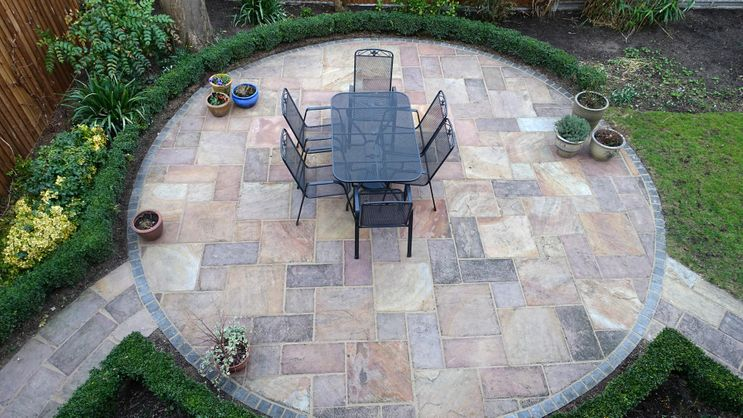 A Birdseye view of a patio that has been installed by one of our team
